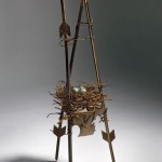 "NEST #6 found metal objects/ceramics 84"" x 29"" x 29"""