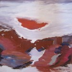 """CORAL RED CLOUD oil on canvas 20"""" x 20"""""""