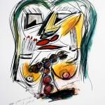 """MAQUILLAGE ET PARFUM mix media on paper, framed 39"""" x 32"""""""