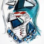 """MADAME LE BLEU mix media on paper, framed 39"""" x 32"""""""