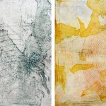 "EPICENTER-ISLANDS oil on handmade paper on canvas 20"" x 40"" diptych"