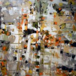 "AT WHAT MOMENT TIME STARTS? oil, beeswax, ink on canvas 47.25"" x 59"" SOLD"