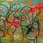 "CHILDREN AT PLAY I mixed media on canvas 40.5"" x 56"""