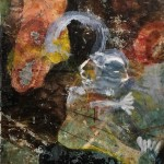 "MOTHER & CHILD 2 oil, mixed media, canvas on panel 63"" x 43"""