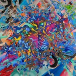 "SAMSARA I acrylic, oil on cloth on panel, framed 70""x84"""