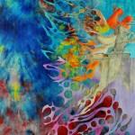 """LUNGTA oil, acrylic on cloth on panel 35""""x30"""""""