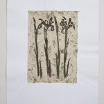 """GREEN IRIS chine colle, spitbite, etching 20"""" x 22"""""""
