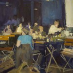 "CAFE- LATE DAY EFFECT oil on canvas 25"" x 21"""
