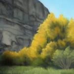 "COTTONWOODS oil on canvas 6"" x 9"""