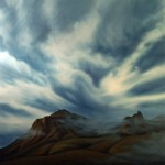"""SMOKE ON THE MOUNTAIN oil on canvas 55"""" x 55"""" SOLD"""