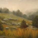 "LITTLE ROUNDTOP IN MIST oil on canvas 5"" x 7"""