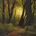 "THE WAY THROUGH CULPS HILL I oil on canvas 7"" x 5"""