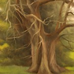 "WITNESS TREE GETTYSBURG ADDRESS oil on canvas 7"" x 5"""