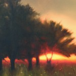 "PEACH ORCHARD oil on canvas 9"" x 12"""